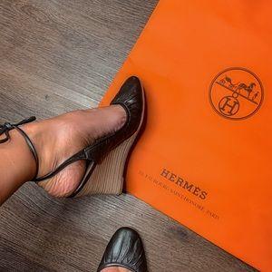 Authentic Black Hermès Ballet Wedges size 37